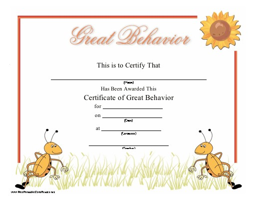Great Behavior Certificate
