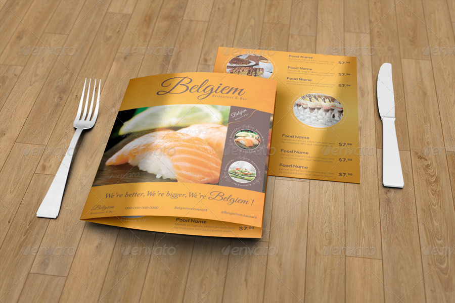 half fold menu mockup 14x8 5inches