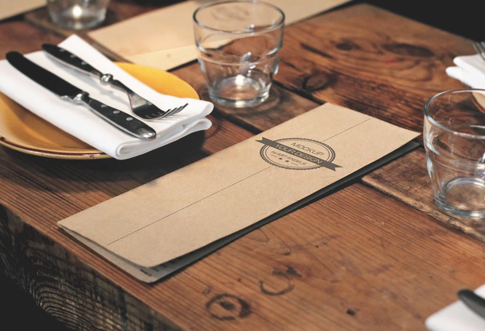 Menu Card on Table Mockup