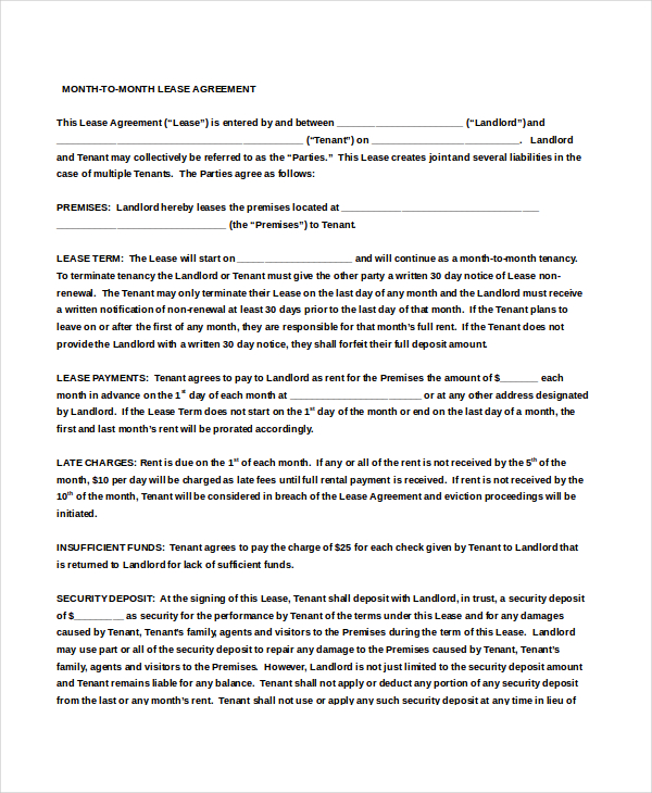 15 free month to month rental agreement templates updated for 12 month lease agreement template