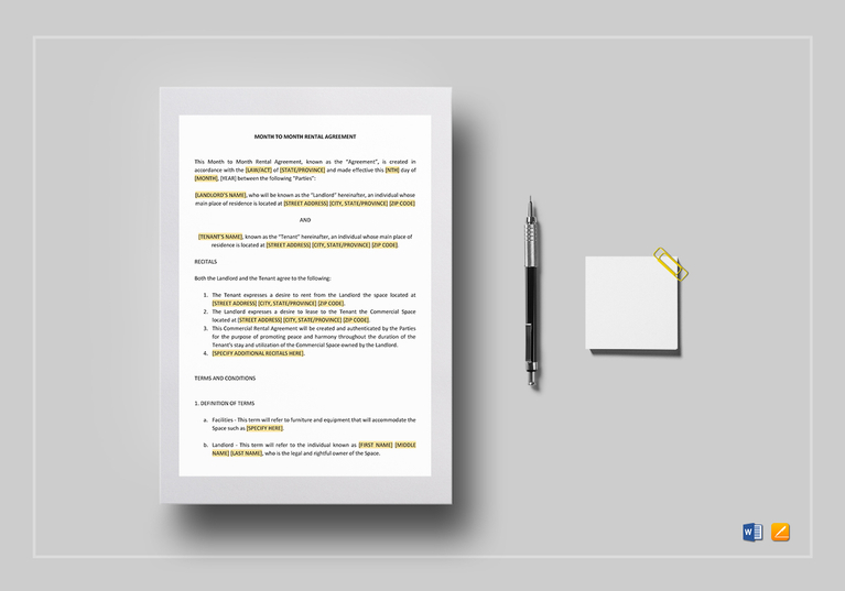 month to month rental agreement for mac