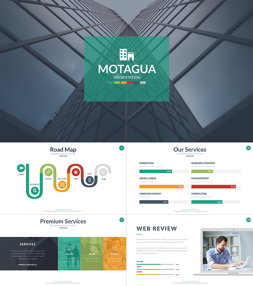 27 free company profile powerpoint templates for presentations motagua company profile powerpoint template 2018 motagua multicolored presentation template toneelgroepblik Choice Image