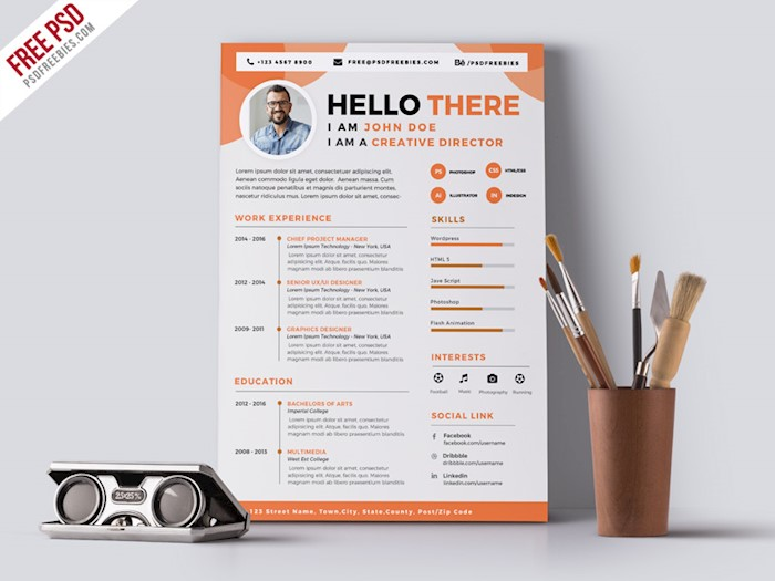 orange-Designer-Resume-CV-PSD-Template