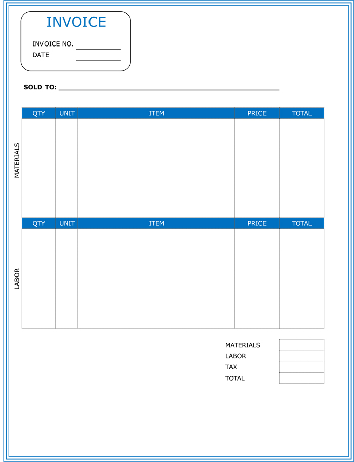 Contractor Invoice Templates For Microsoft Word  Excel
