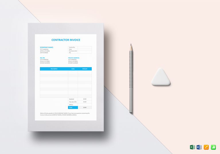 Premium Contractor Invoice Template