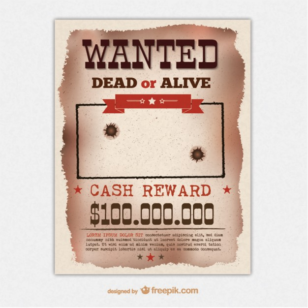 Reward Poster Template] 29 Free Wanted Poster Templates Fbi And Old ...