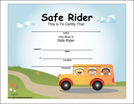 Safe School Bus Rider Certificate