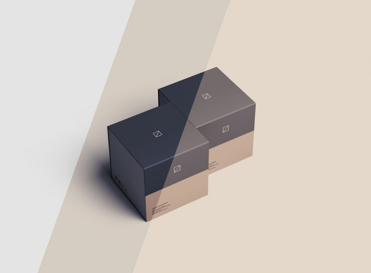 Slide Square Box Package Mockup