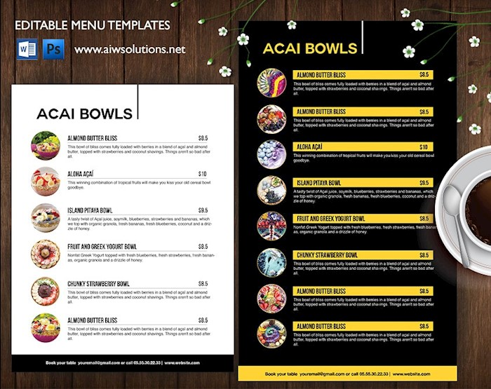 smoothies-acai-bows-menu-template