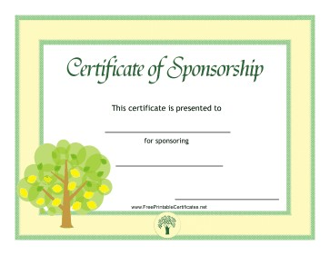 Sponsorship Certificate Plant
