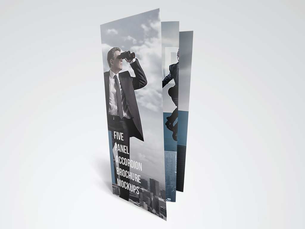 Three mockups of a 5 panel accordion brochure
