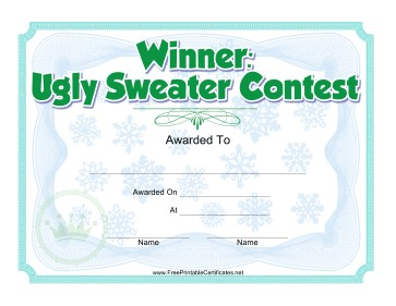 Ugly Sweater Christmas Contest Award Certificate