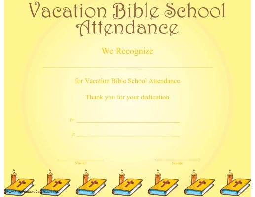 Vacation Bible School Attendance Certificate