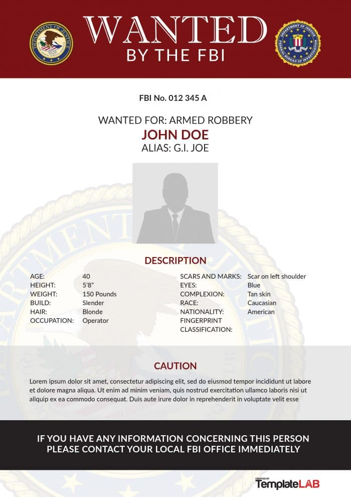 wanted poster by the fbi