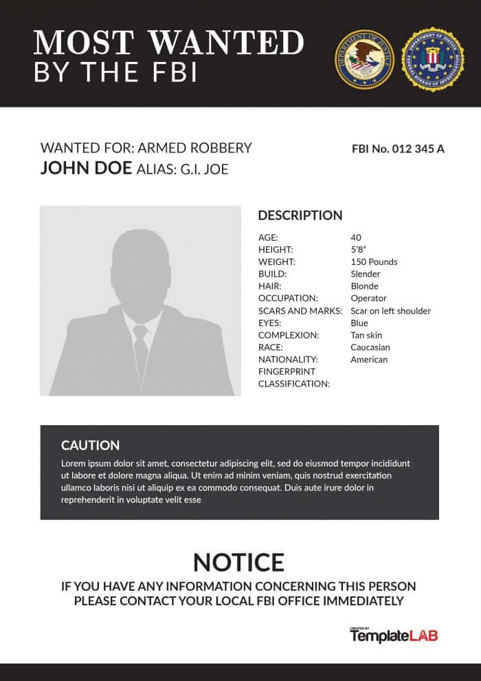 Wanted Poster Fbi  Most Wanted Posters Templates