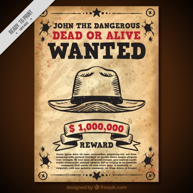 Wanted poster with hat in vintage style