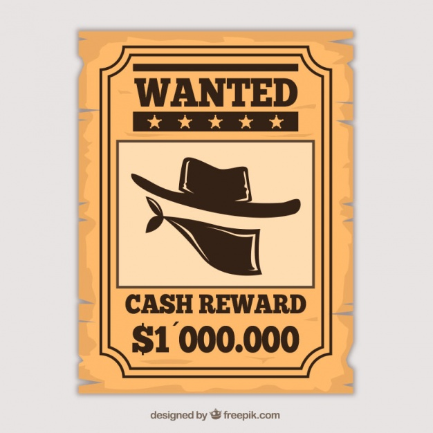 Western poster to find a criminal