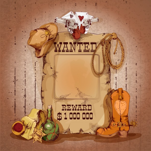 Wild west wanted man for reward poster with cowboy elements vector