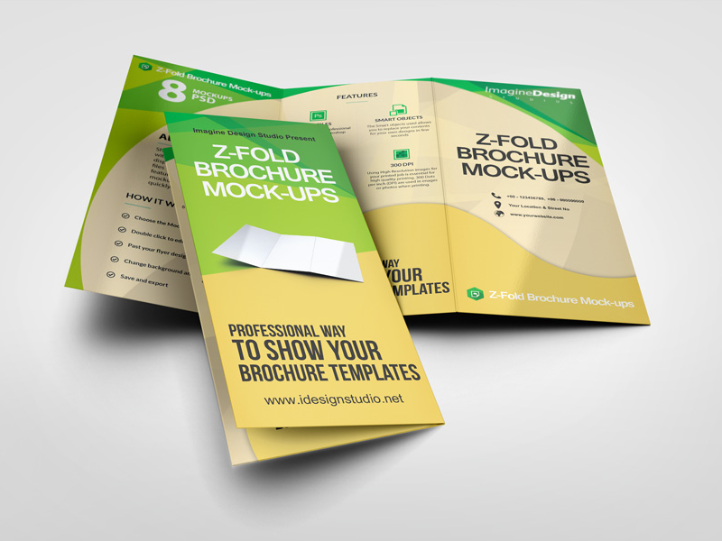 Free Tri Fold Brochure Mockups Updated - Z fold brochure template