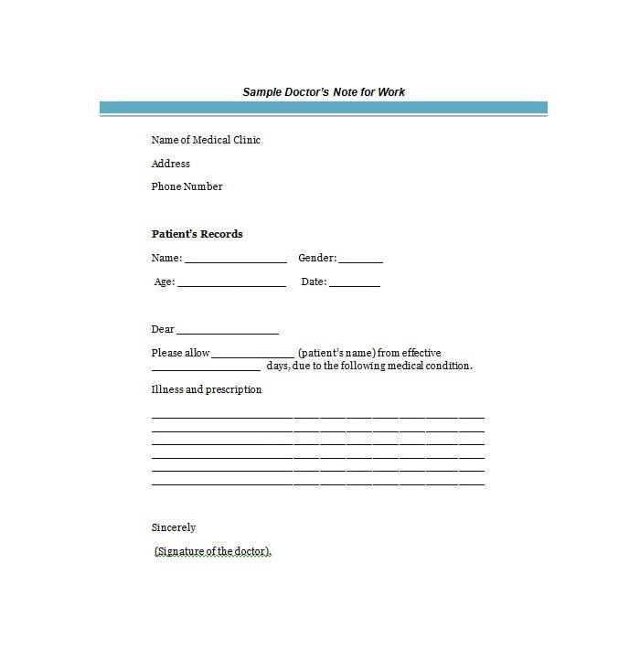 printable fake doctors notes free