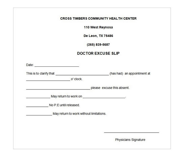 doctor note cross timber