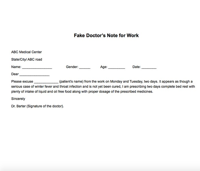 25 free printable doctor notes templates for work updated 2018