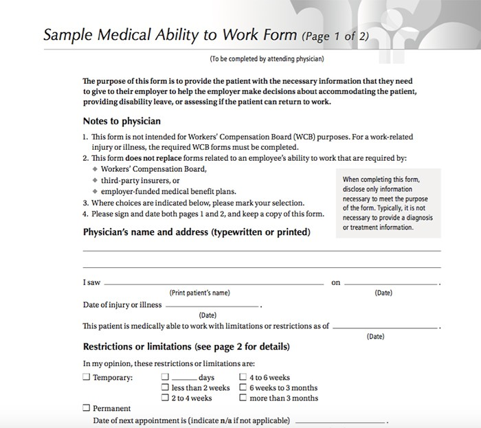 Medical Ability To Work  Free Printable Doctor Forms