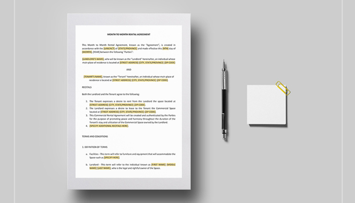 month to month rental agreement templates