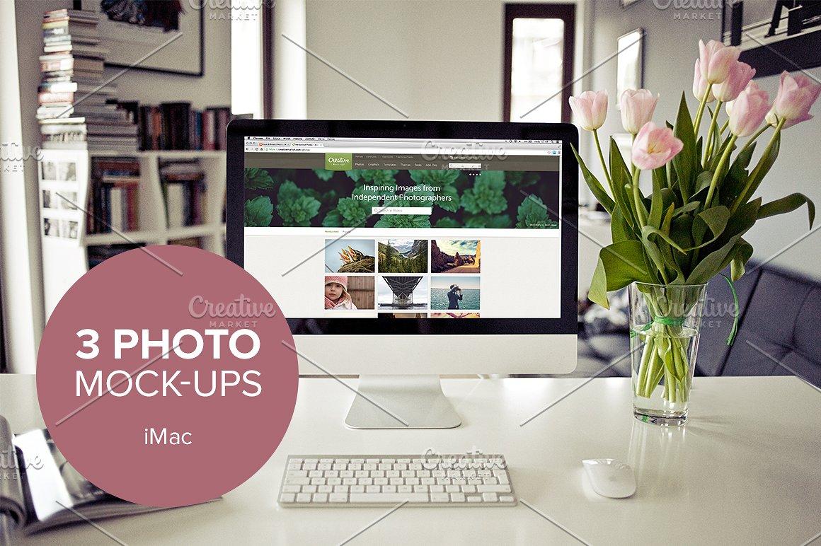 3x Real Photo iMac mockups