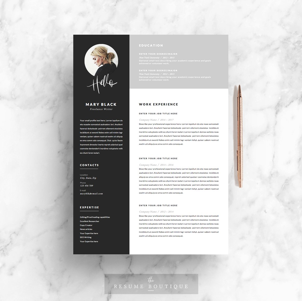 5 page Resume Template Blackie