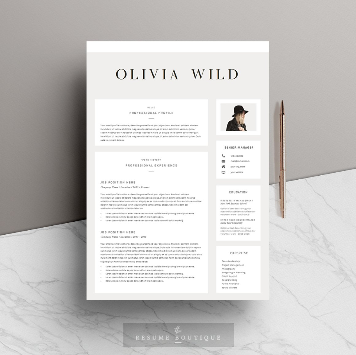 5 page Resume Template Ultra Chic