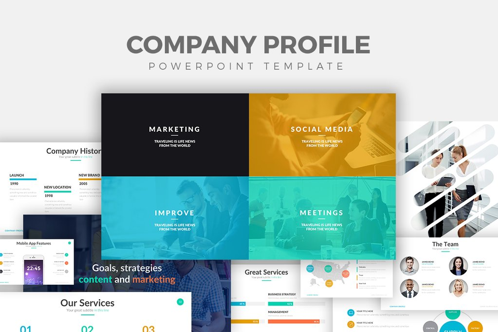27 free company profile powerpoint templates for presentations for How to make a company profile template