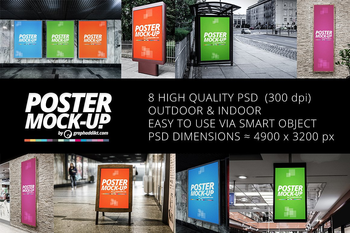 Poster mockups indoor and outdoor