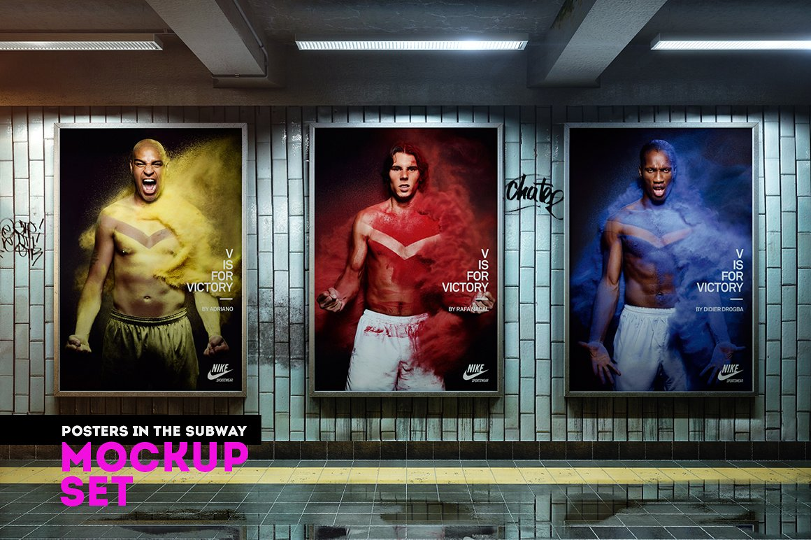Posters in the subway Mockup Set