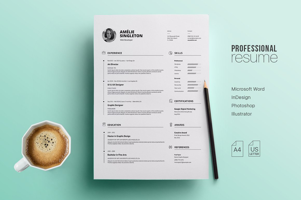 Professional Resume Template and cover letter