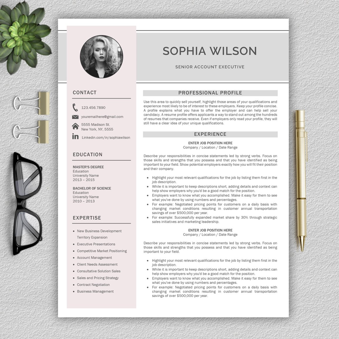 Resume Template CV plus Cover Letter