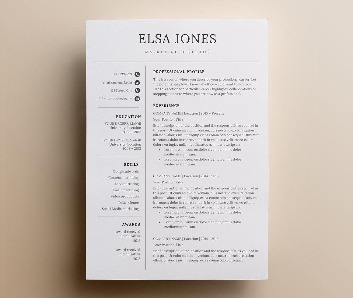 Resume Template CV us letter