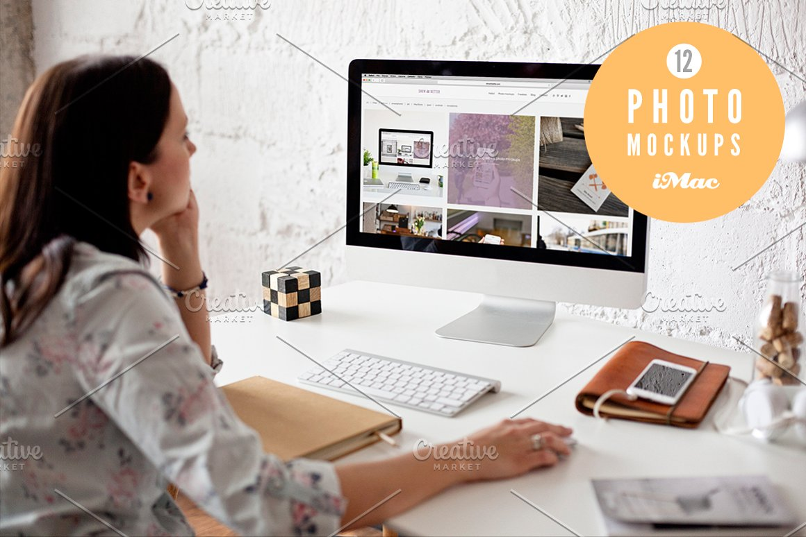 Woman using iMac 12 photo mockups