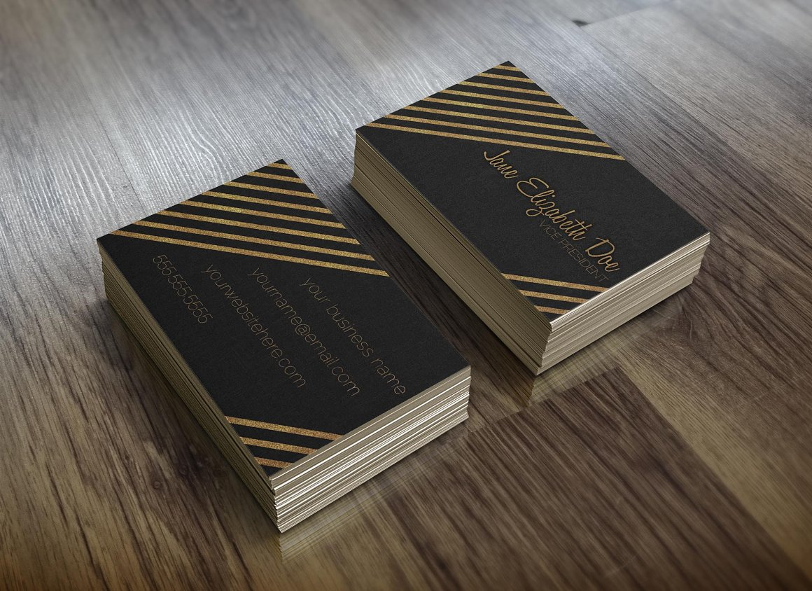 Black Gold Glitter Business Card