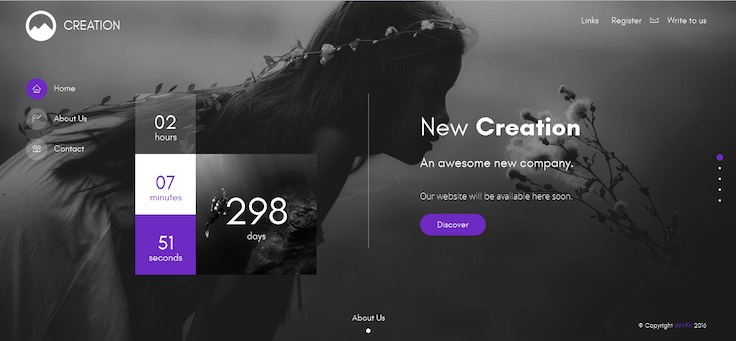 CREATION Creative Template For Coming Soon Page