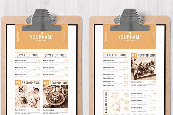 drink menu templates