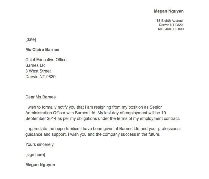 Simple Two Weeks Notice Letter Resignation Templates