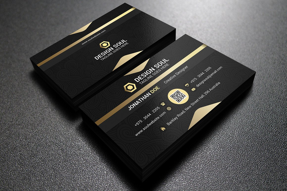 25 black and gold business card templates gold and black business card psd files reheart Gallery