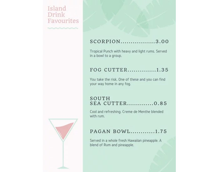 pastel-pink-and-green-hawaiian-beach-bar-menu