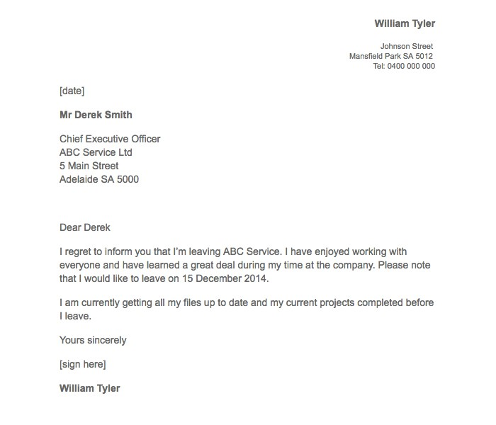 Resignation Letter With Regret Image Collections  Letter Format