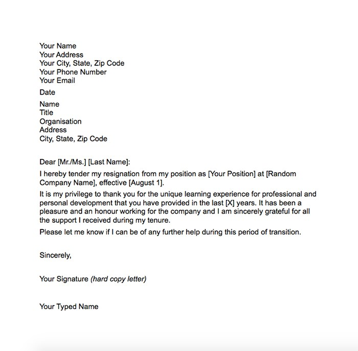 21 simple two weeks notice letter resignation templates