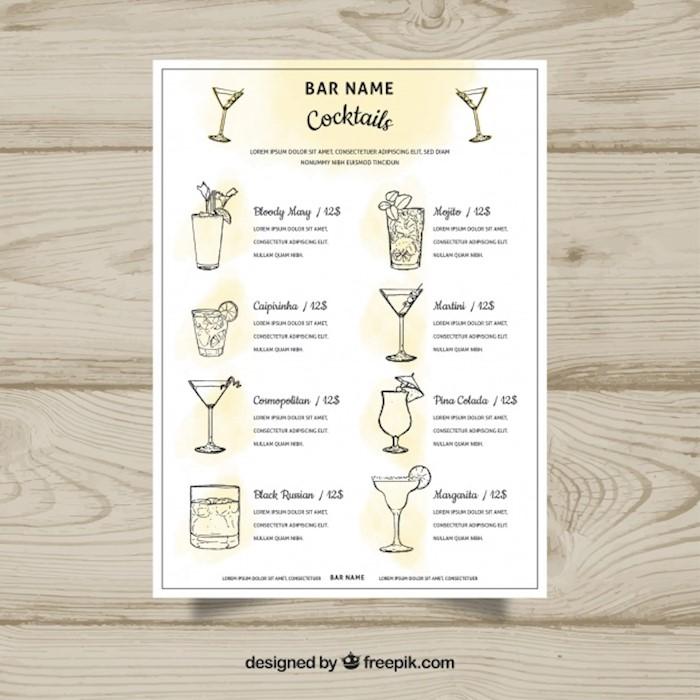 yellow-cocktail-menu-template