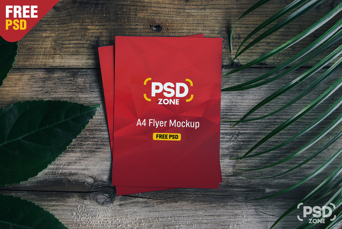 A4 Flyer free Poster Mockup PSD