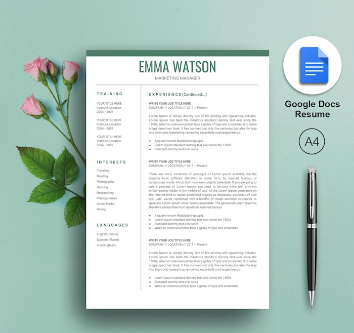 21  best google docs resume templates