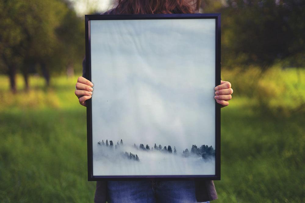 female Free Poster Frame Mockup